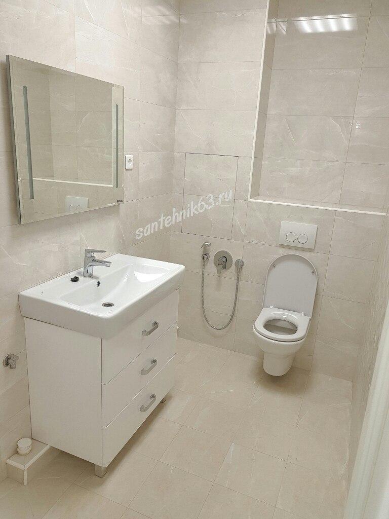 Установка сантехники в Самаре. Раковина, унитаз, гигиенический душ.